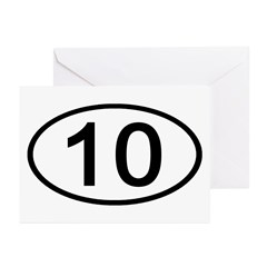 Number 10 Oval Greeting Cards (Pk of 10)