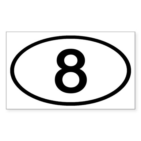 Number 8 Oval Rectangle Sticker