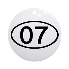 Number 07 Oval Ornament (Round)