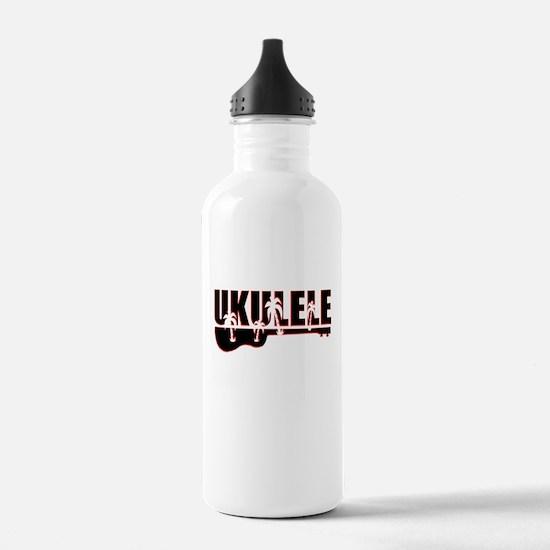 Palm tree ukulele Water Bottle