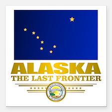 "Alaska Pride Square Car Magnet 3"" x 3"""