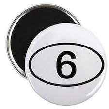 Number 6 Oval Magnet