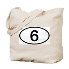 Number 6 Oval Tote Bag