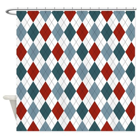 Red Blue And White Argyle Shower Curtain By MightyNiceStuff