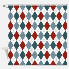 Red Blue and White Argyle Shower Curtain