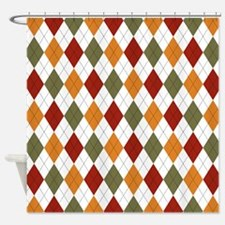 Red Green and Orange Argyle Shower Curtain