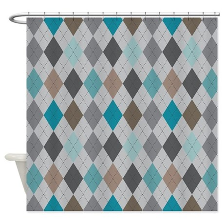 Blue And Gray Argyle Shower Curtain By MightyNiceStuff