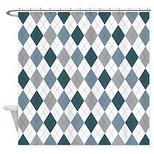 Blue Gray Argyle Shower Curtain