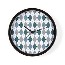Blue Gray Argyle Wall Clock