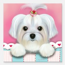 """Morkie Shelly Square Car Magnet 3"""" x 3"""""""