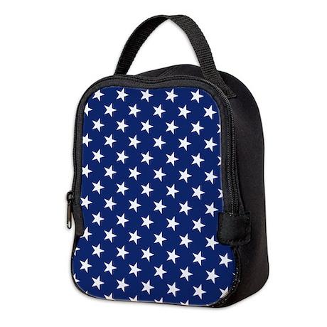 White Stars Neoprene Lunch Bag