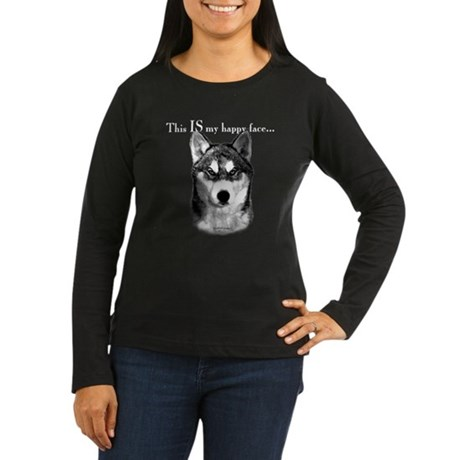Husky Happy Face Women's Long Sleeve Dark T-Shirt