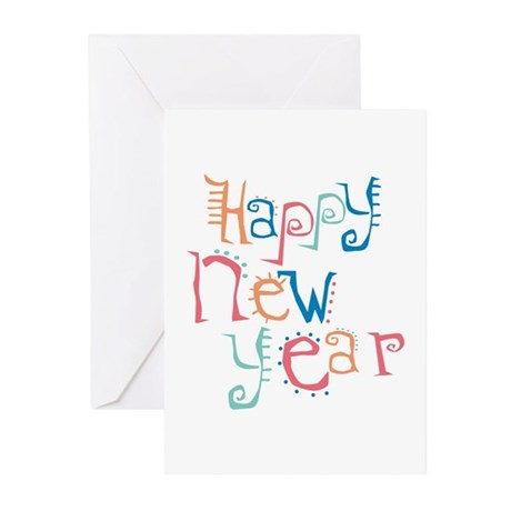 Pastel Happy New Year Greeting Cards (Pk of 10