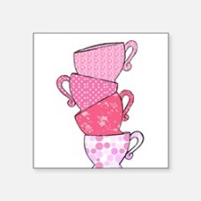 Pink Pattern Stacked Tea Cups Sticker