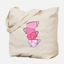 Pink Pattern Stacked Tea Cups Tote Bag
