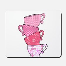 Pink Pattern Stacked Tea Cups Mousepad