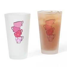 Pink Pattern Stacked Tea Cups Drinking Glass