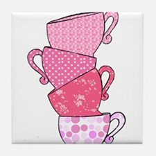 Pink Pattern Stacked Tea Cups Tile Coaster