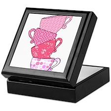 Pink Pattern Stacked Tea Cups Keepsake Box