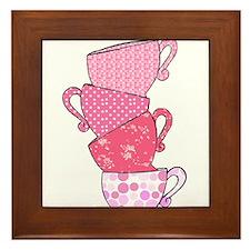 Pink Pattern Stacked Tea Cups Framed Tile
