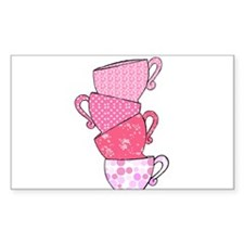 Pink Pattern Stacked Tea Cups Decal