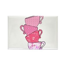Pink Pattern Stacked Tea Cups Rectangle Magnet