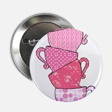 "Pink Pattern Stacked Tea Cups 2.25"" Button"