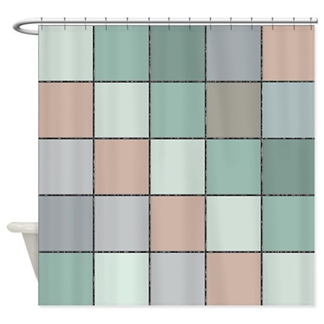 Square Tiled Effect Shower Curtain