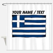 Custom Greece Flag Shower Curtain
