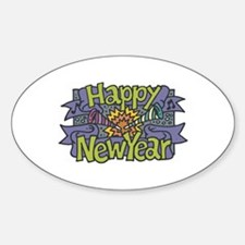 Happy New Year Cheer Design Oval Decal