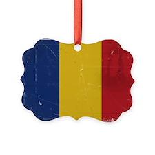 antiqued Romanian flag Ornament