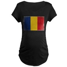 antiqued Romanian flag Maternity T-Shirt