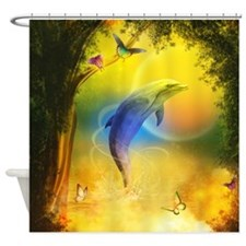 Colorful Dolphin Shower Curtain
