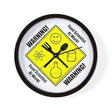"""Warning Food Scientist..."" Wall Clock"