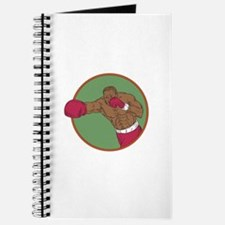 African-American Boxer Right Hook Circle Drawing J