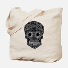 Black And Grey Sugar Skull Tote Bag