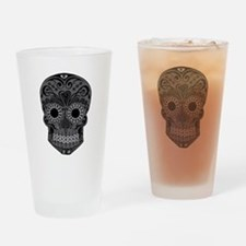 Black And Grey Sugar Skull Drinking Glass