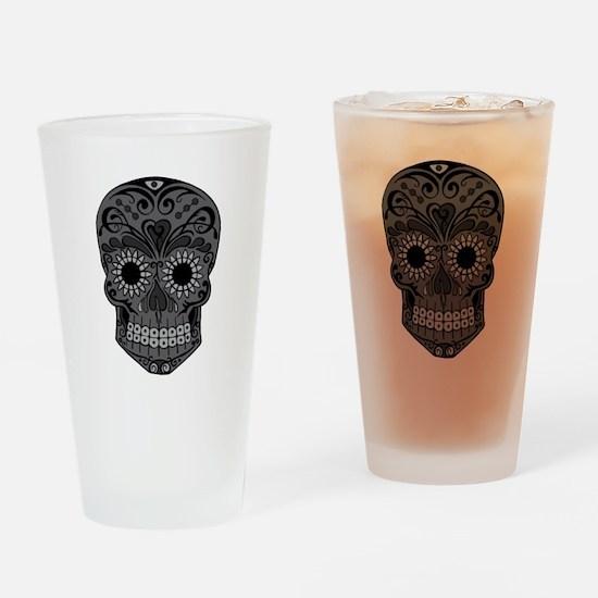 Black And Grey Sugar Skull Drinking Glass