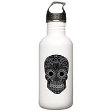 Black And Grey Sugar Skull Water Bottle