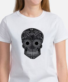 Black And Grey Sugar Skull T-Shirt