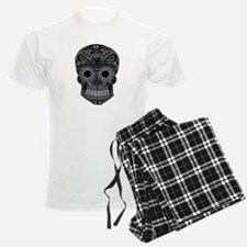 Black And Grey Sugar Skull Pajamas