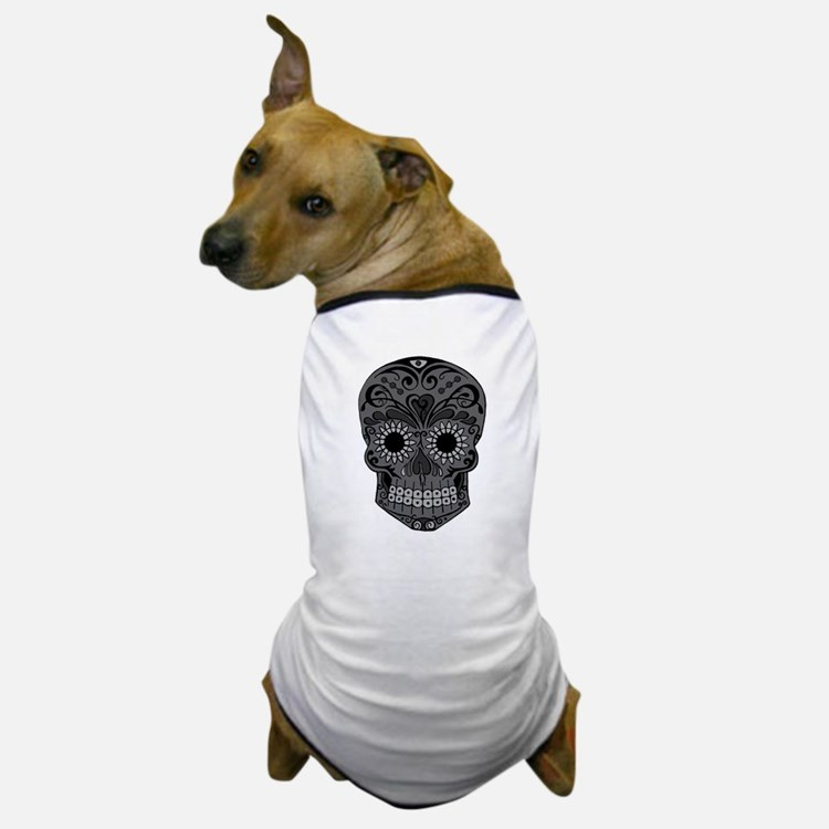 Black And Grey Sugar Skull Dog T-Shirt