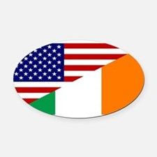 Irish American Flag Oval Car Magnet