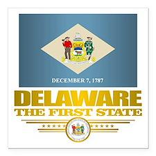 """Delaware Pride Square Car Magnet 3"""" x 3"""""""