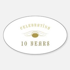 Celebrating 10 Years Of Marriage Sticker (Oval)