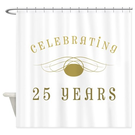 Celebrating 25 Years Of Marriage Shower Curtain