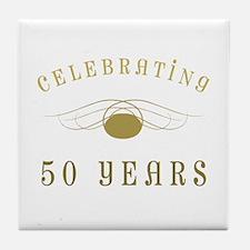 Celebrating 50 Years Of Marriage Tile Coaster