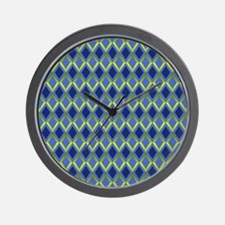Cobalt Diamonds Wall Clock