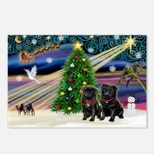 Xmas Magic & 2 Black Pugs Postcards (Package of 8)