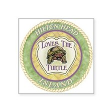 "Hilton Head Turtle Square Sticker 3"" x 3&quot"